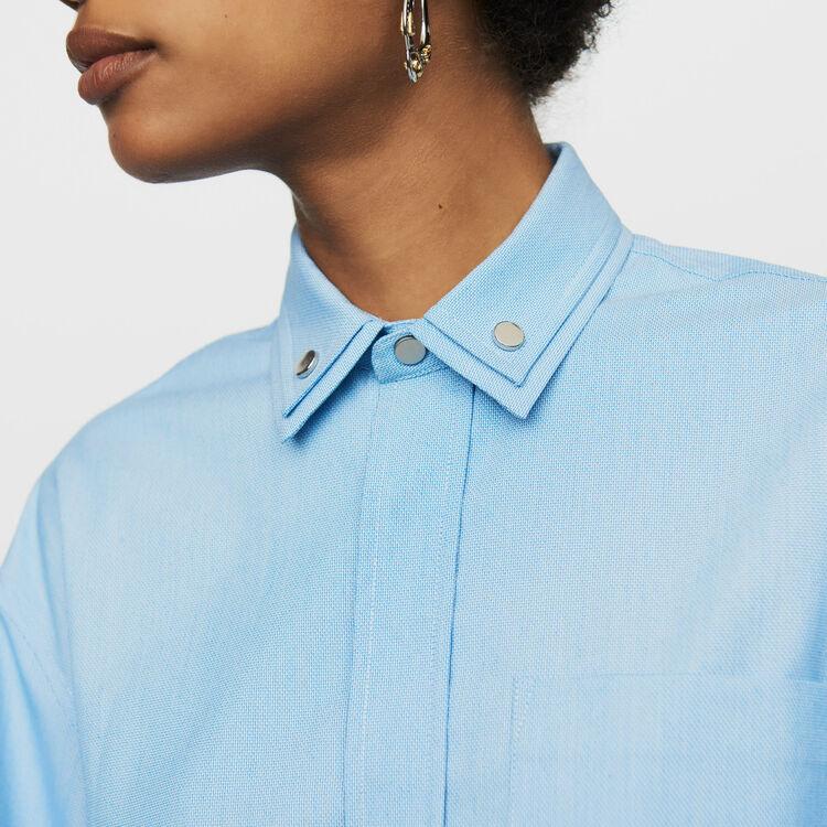 Chemise oversize à double col : Chemises couleur Bleu Ciel