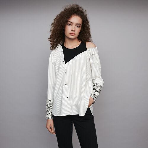 Top trompe-l'œil rayé : Tops & Chemises couleur Blanc/Noir