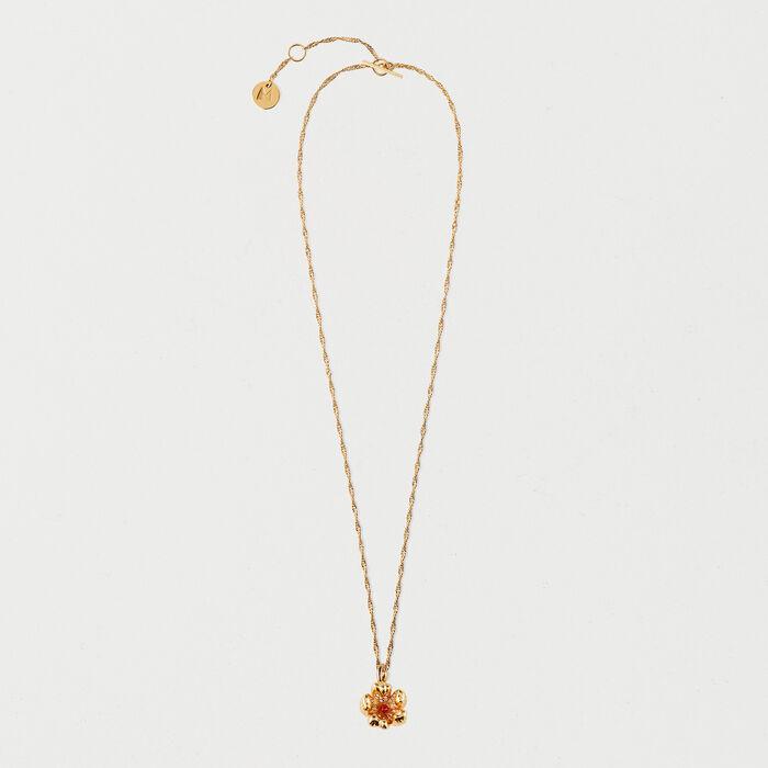 Collier fleur rouge : Bijoux couleur OR