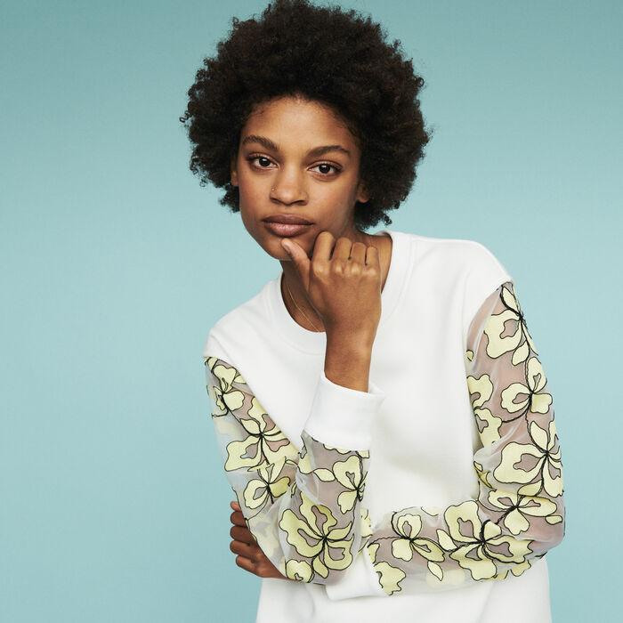 Sweat-shirt avec détails en organza : Pulls & Cardigans couleur BLANC