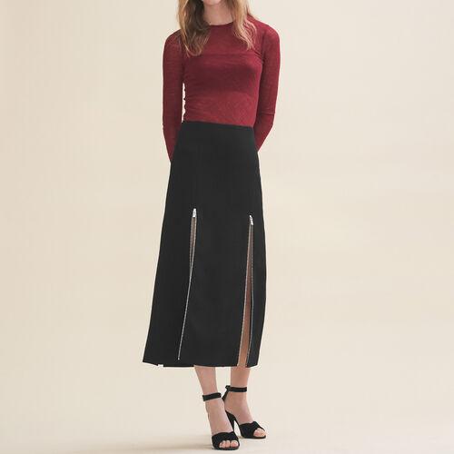 Long crêpe skirt : Skirts & Shorts color Black 210