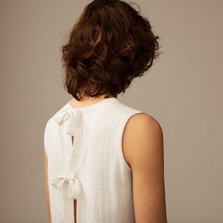 Pull sans manches avec nœuds au dos : Maille couleur ECRU