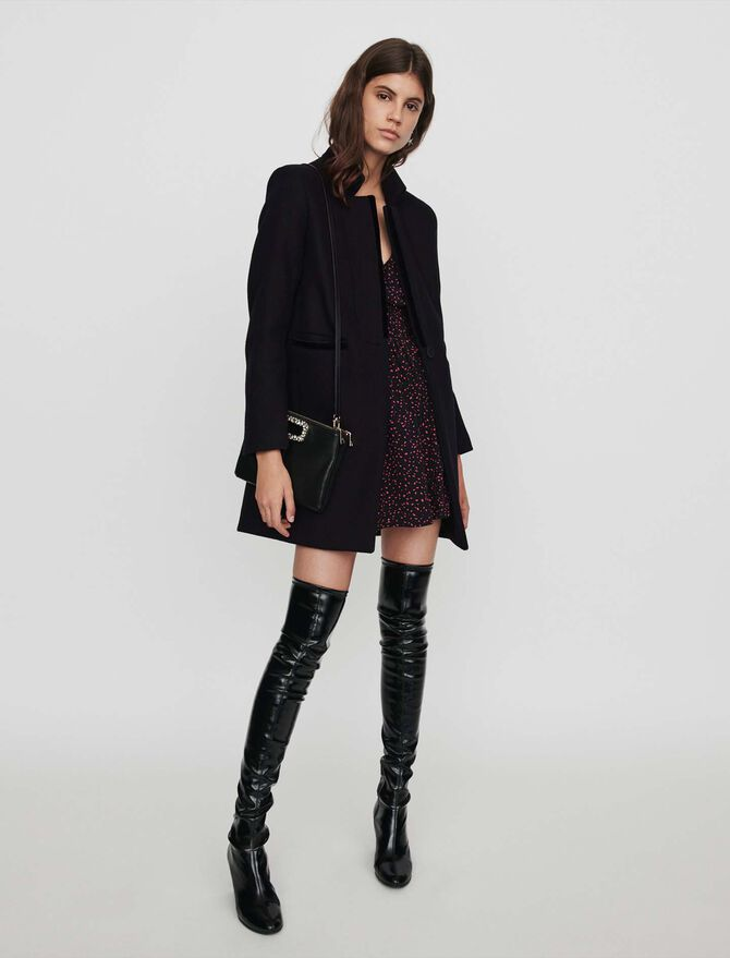 Wool and velvet coat - Coats & Jackets - MAJE