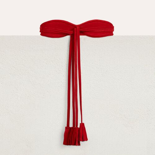 Ceintures true Large ceinture en cuir de velours   Ceintures couleur Rouge f49d2c7ffbe