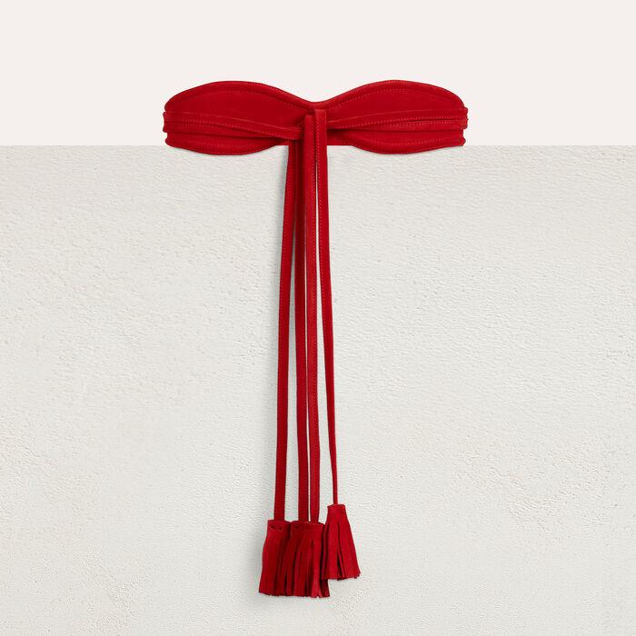 Large ceinture en cuir de velours : Ceintures couleur ROUGE