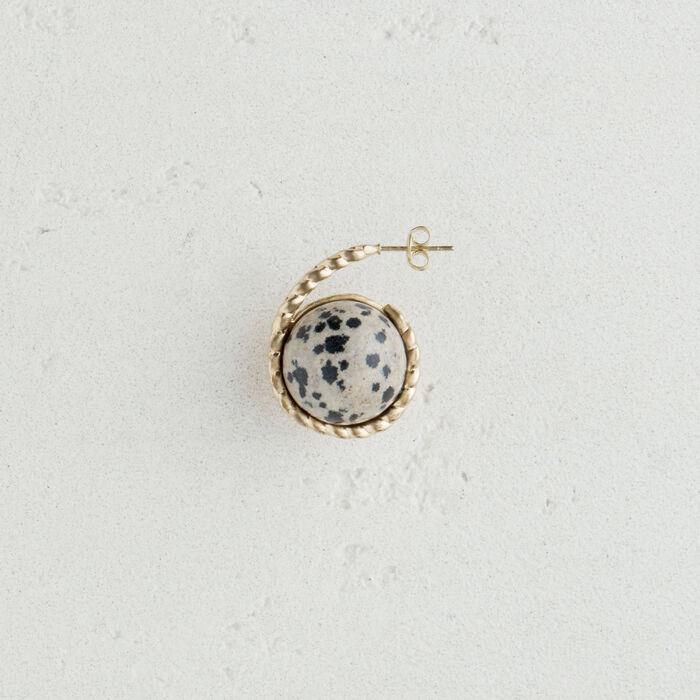 Boucle d'oreille gauche en pierre : Bijoux couleur BLANC CASSE