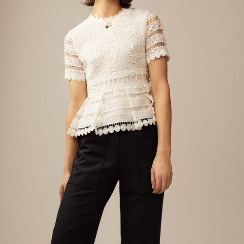 Contoured lace top : Tops color ECRU