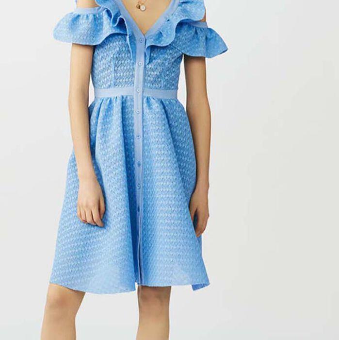 Robe sans manches en maille basket : Robes couleur Bleu