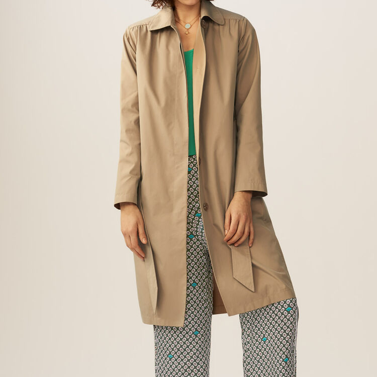 Trench avec détails froncés : Manteaux couleur Beige