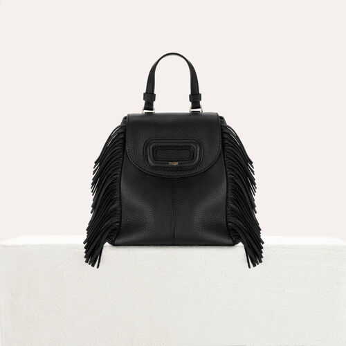 Mini M backpack in leather with chain : Other M color Black 210