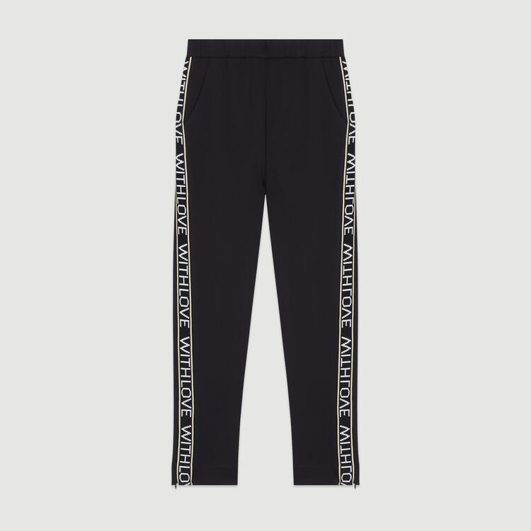 Jogging pants with elastic waist : Trousers & Jeans color Black 210
