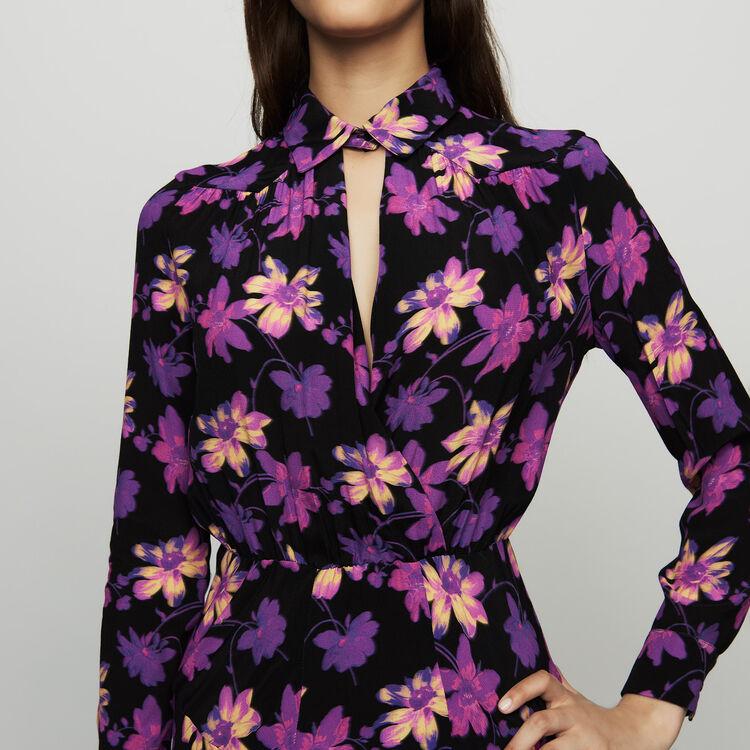Robe longue asymétrique à imprimé floral : Robes couleur Imprime