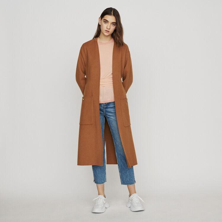 Long double-face wool coat : Coats & Jackets color Caramel