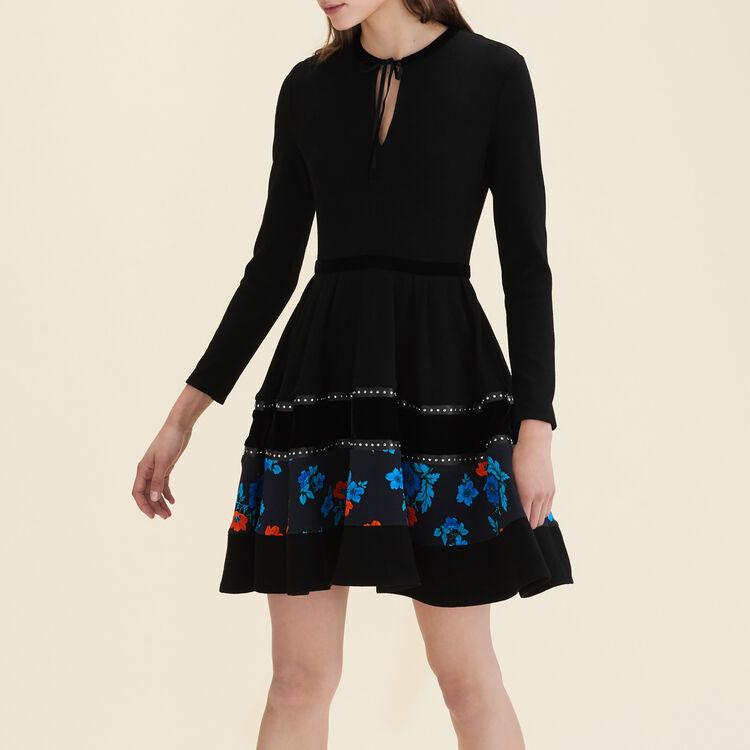 Robe patineuse avec mix de matières : Robes couleur Black