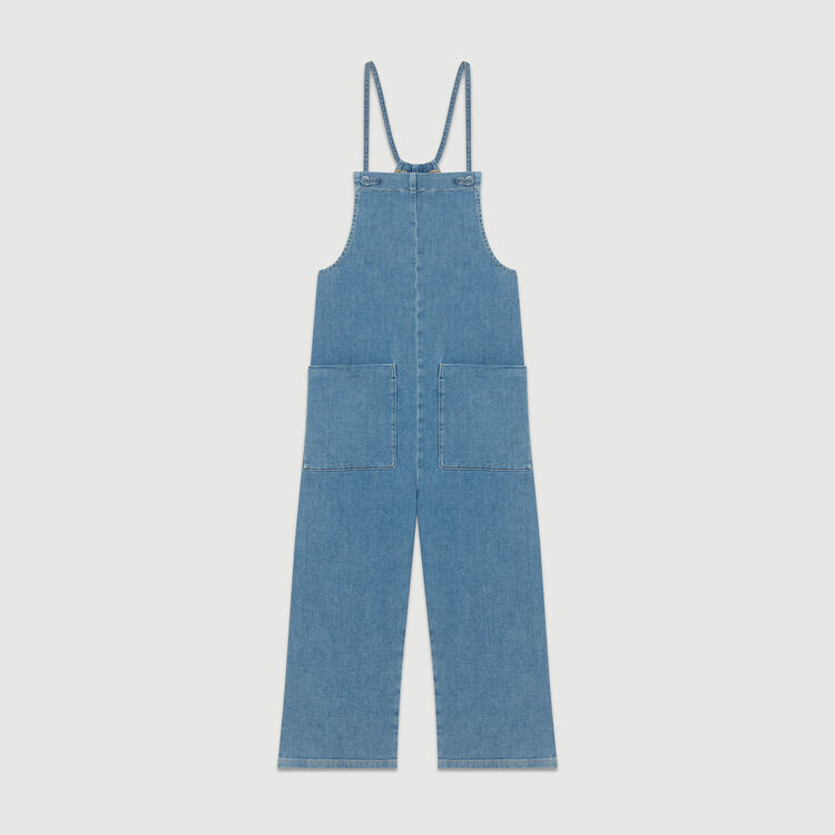Salopette en jean à fines bretelles : Jeans couleur Denim
