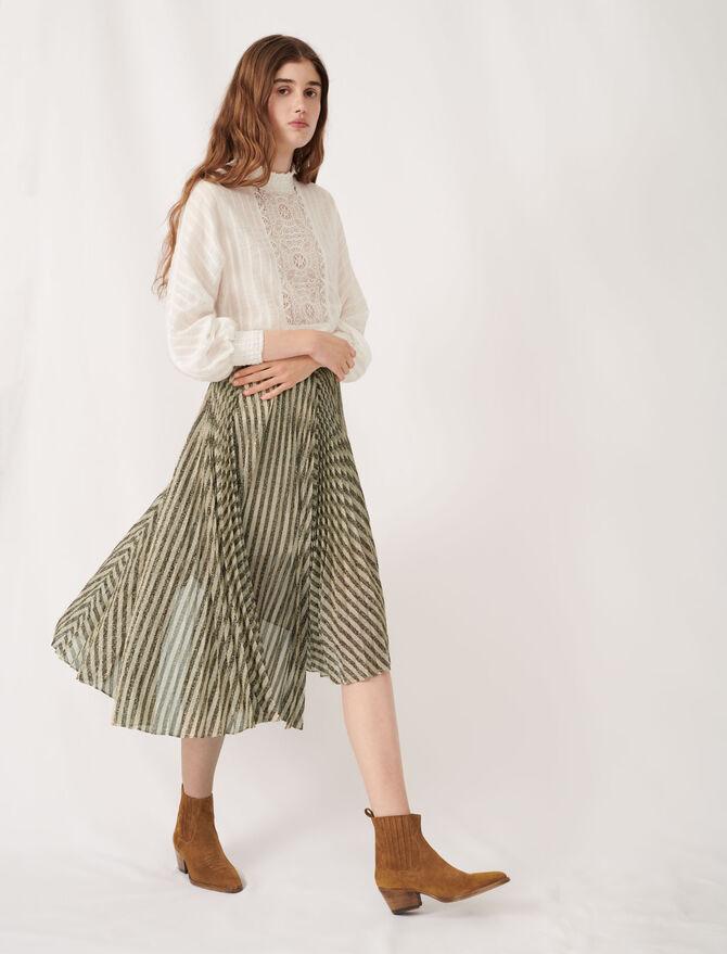 Jupe midi plissée en lurex bicolore - Jupes & Shorts - MAJE