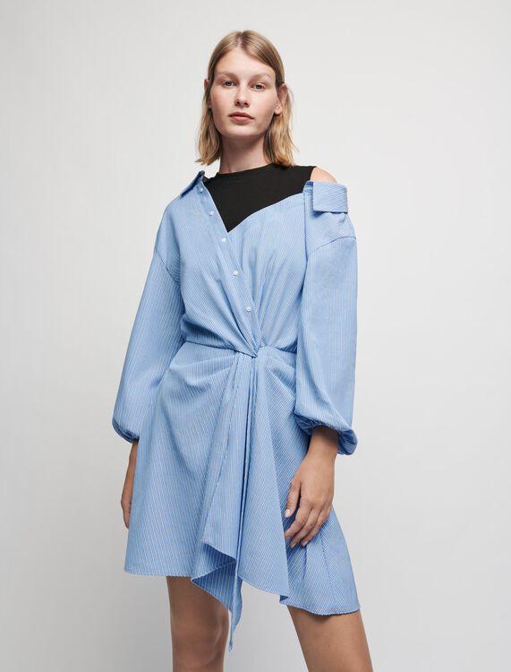 Robe chemise trompe-l'œil à rayures - Robes - MAJE