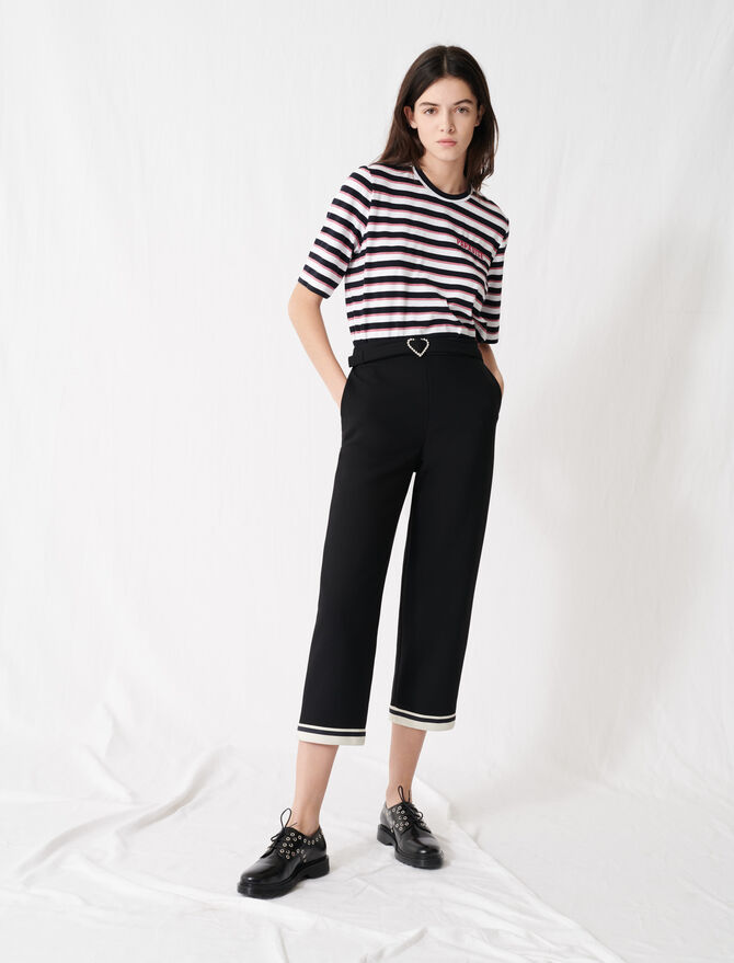 Heart buckle trousers with sporty hems - Trousers & Jeans - MAJE