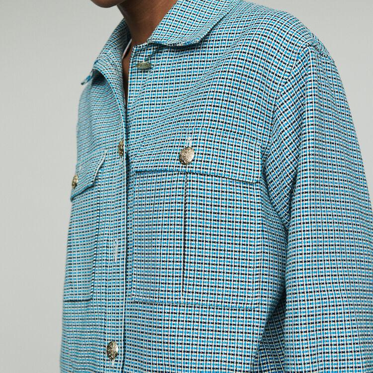 Blouson en natté façon tweed : Manteaux & Blousons couleur Bleu