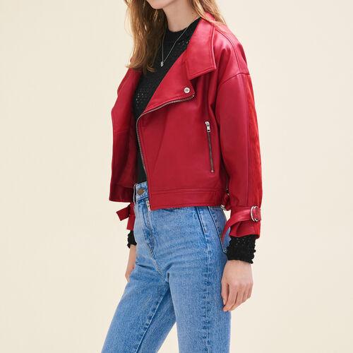 Blouson esprit vintage en cuir : Vestes & Blousons couleur Rouge