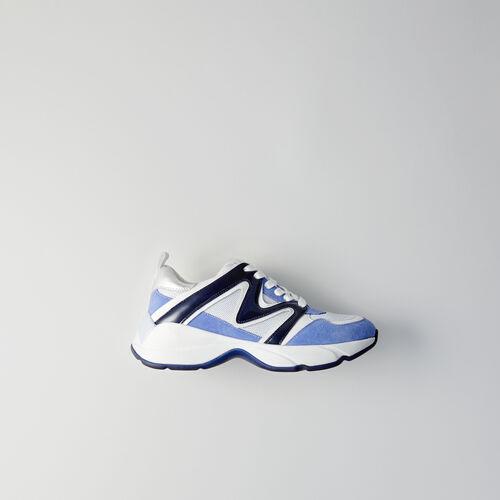 Sneakers W22 en mix matières : Sneakers couleur Bleu