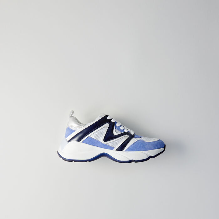 W22 mixed material sneakers : Sneakers color Blue