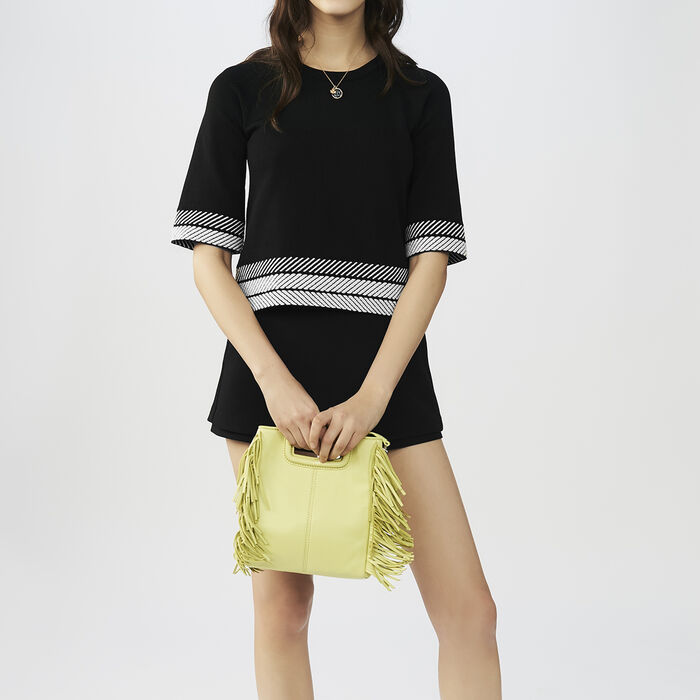 Pull large à manches courtes : Maille couleur Black