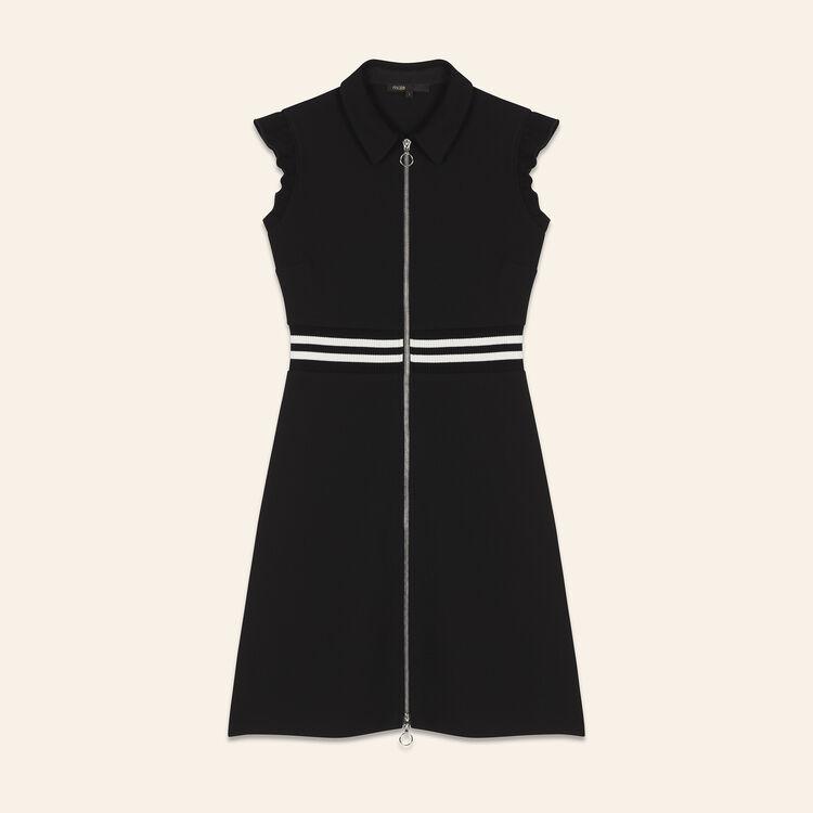 Robe trapèze en crêpe avec volants : Robes couleur Black