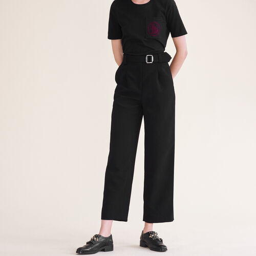Wide leg trousers with belt - Trousers - MAJE