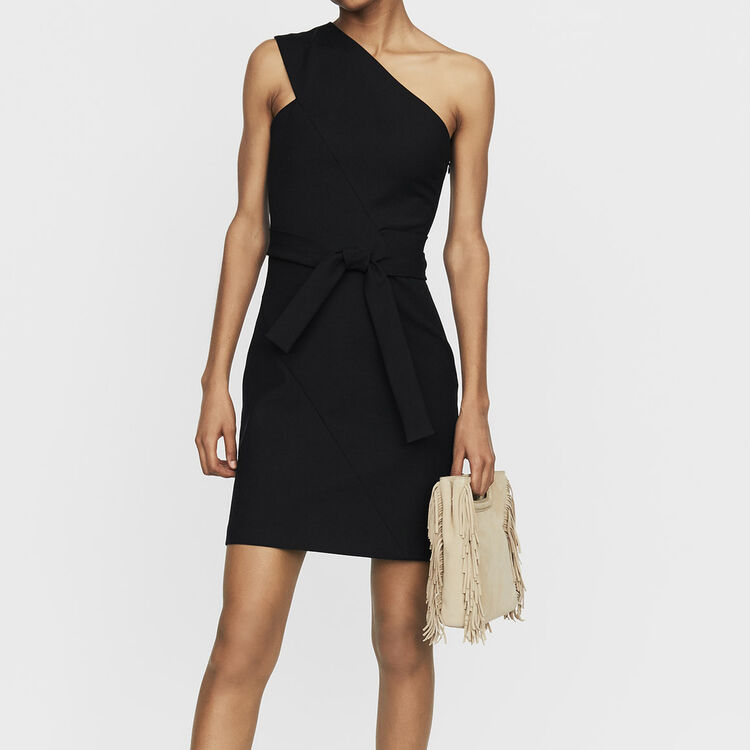Robe courte avec épaules asymétriques : Robes couleur Black