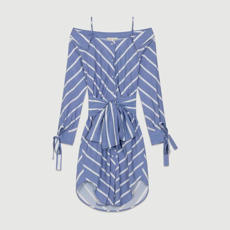 Robe-chemise rayée à épaules dénudées : Robes couleur Bleu