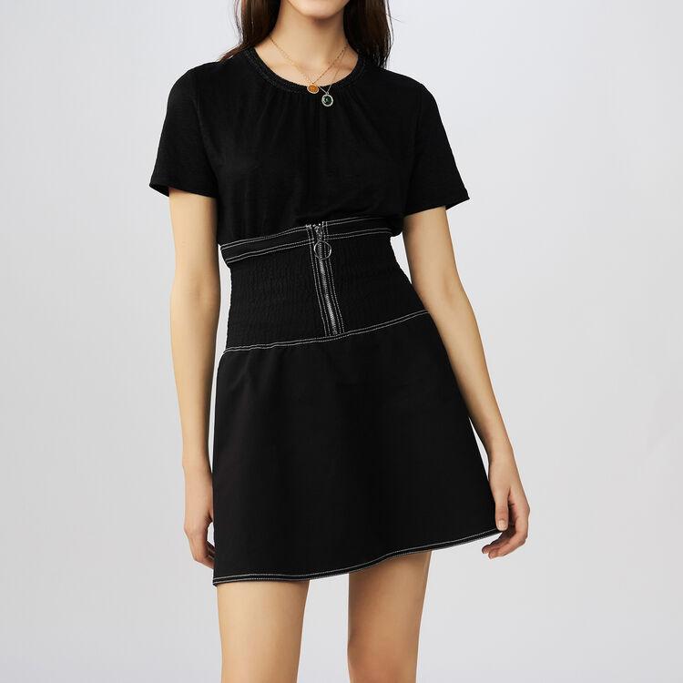 Tee-shirt en lin avec col crochet : T-Shirts couleur Black