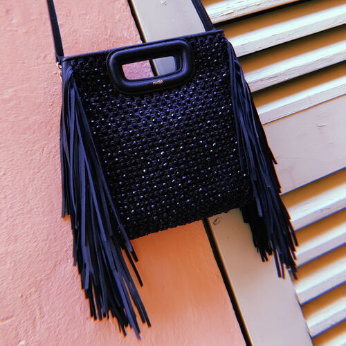 M bag in raffia with pearls : M bag color Black 210