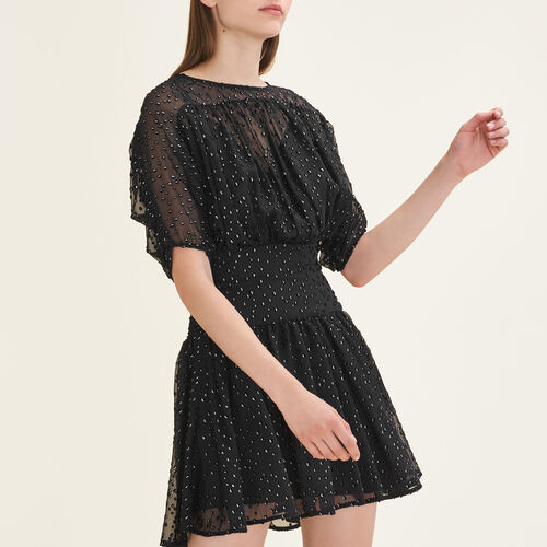 Flocked silk dress : Dresses color Black 210