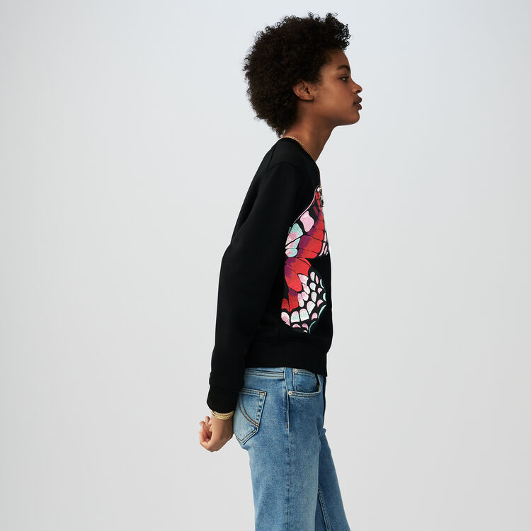 Sweat-shirt en coton avec broderie : Sweats couleur Black