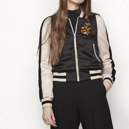 Varsity-style two-tone satin jacket - Jackets - MAJE