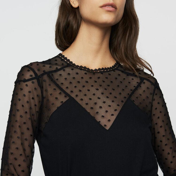 Tee-shirt en coton et plumetis : Prêt-à-porter couleur Black