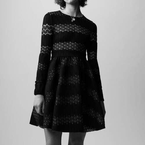 Rounded hem basket weave dress : Dresses color BLACK