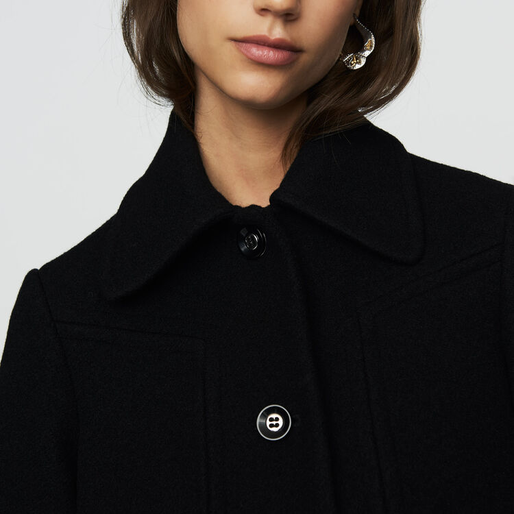 Manteau trapèze en laine : Manteaux couleur Black