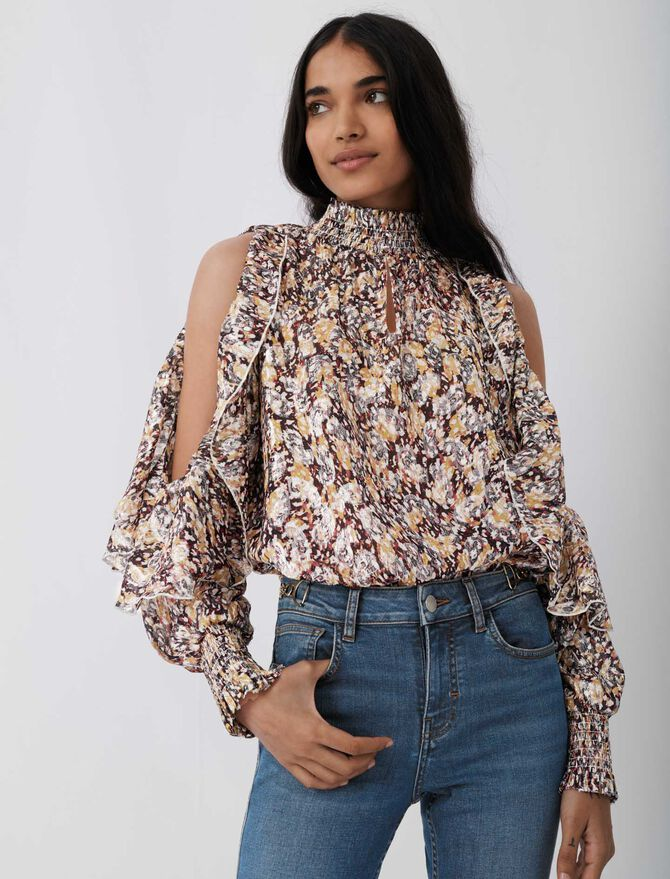 Top with openwork shoulders and ruffles - Arlissa's story - MAJE