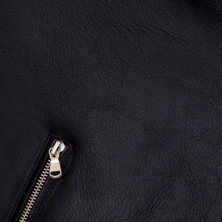 Blouson biker en peau lainée : Blousons couleur Black