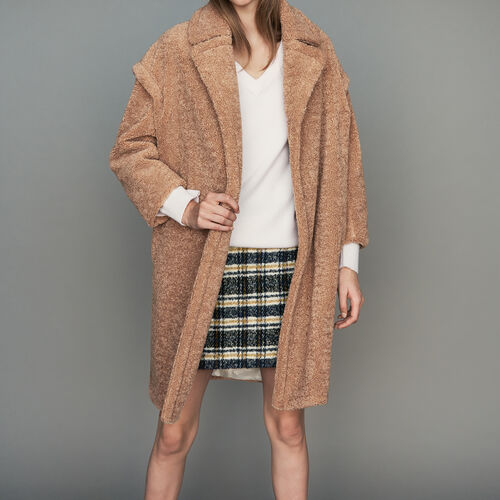 Oversize shearling coat : Coats color Camel
