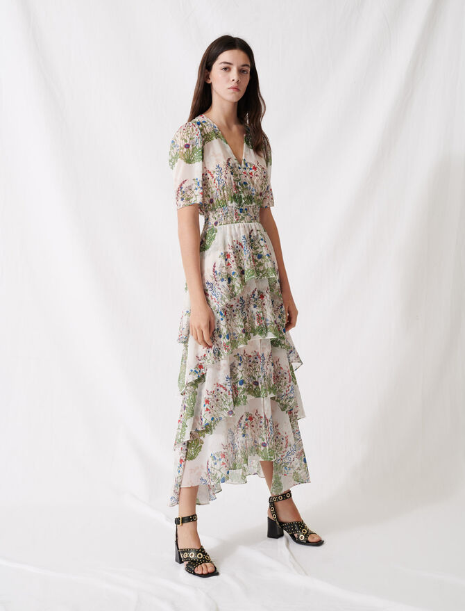 Ruffled printed muslin dress - Winter collection - MAJE