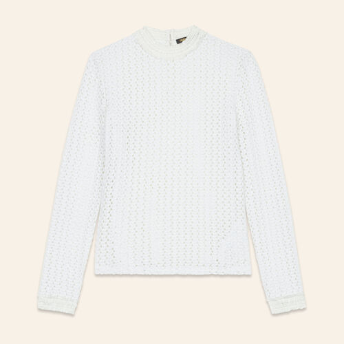 Top en mix de broderie : Tops couleur BLANC