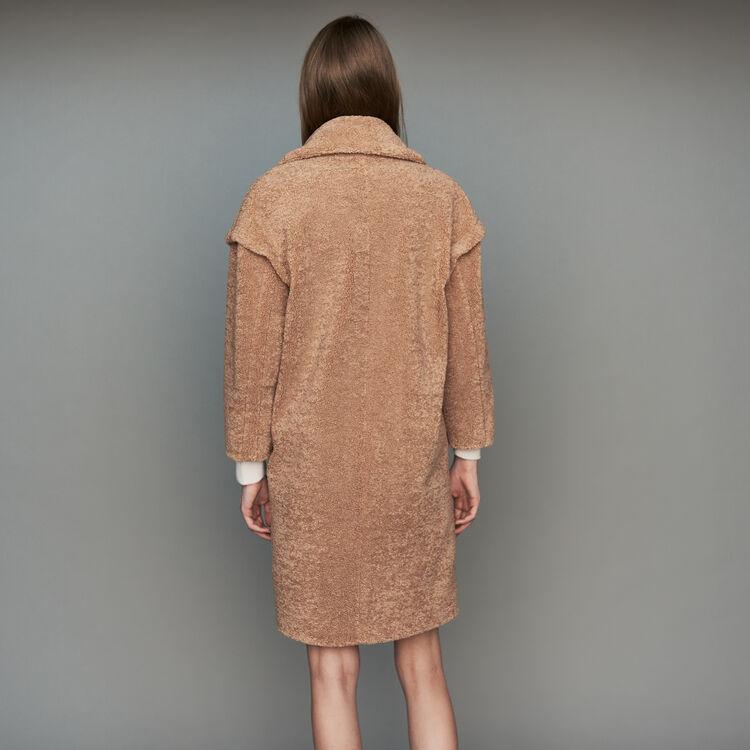 Manteau en fausse fourrure à col large : Manteaux couleur Camel