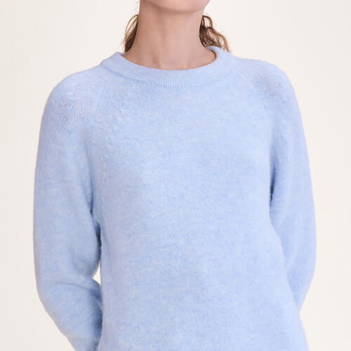 Loose fluffy jumper : Knitwear color Blue Sky