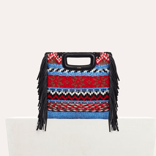 Mini M bag in knit and leather : Leather color Blue