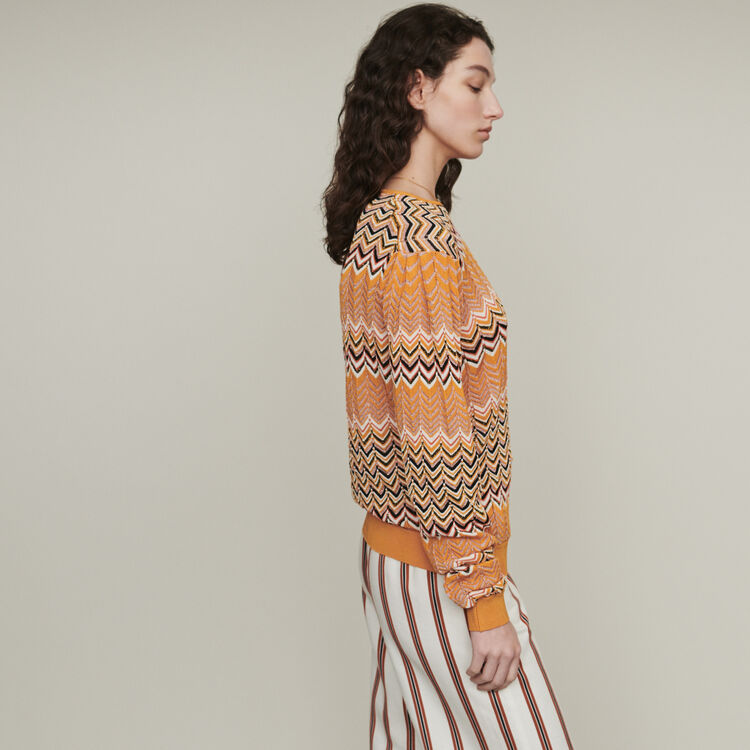 Sweater in zigzag knit : Pullovers & Cardigans color Orange