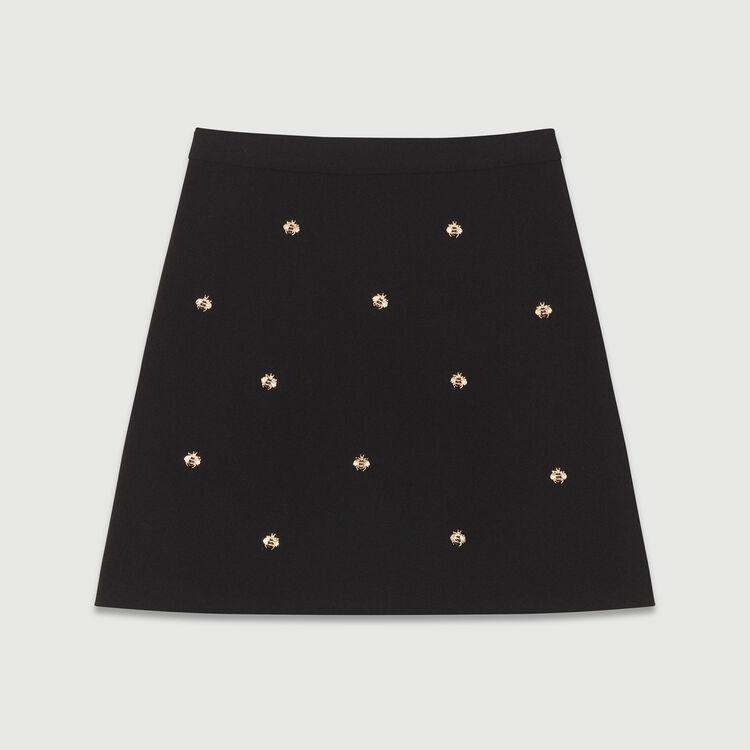Jupe avec abeilles brodées : Jupes & Shorts couleur Black