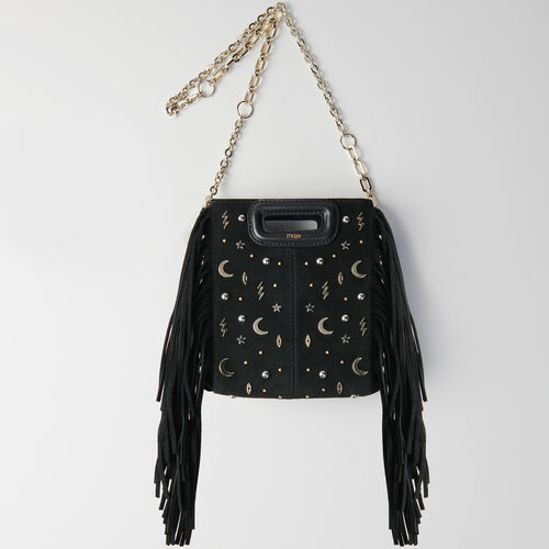 Mini studded suede M bag with chain : Campaign FW19 color Black